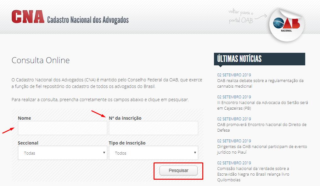 imagem da página do site do Cadastro nacional dos advogados - contratar um advogado online